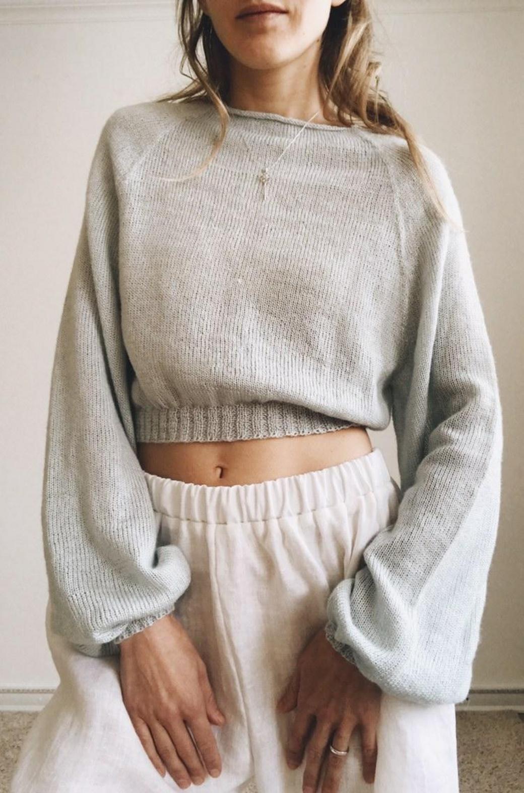 Вязаный свитер реглан полупрозрачный