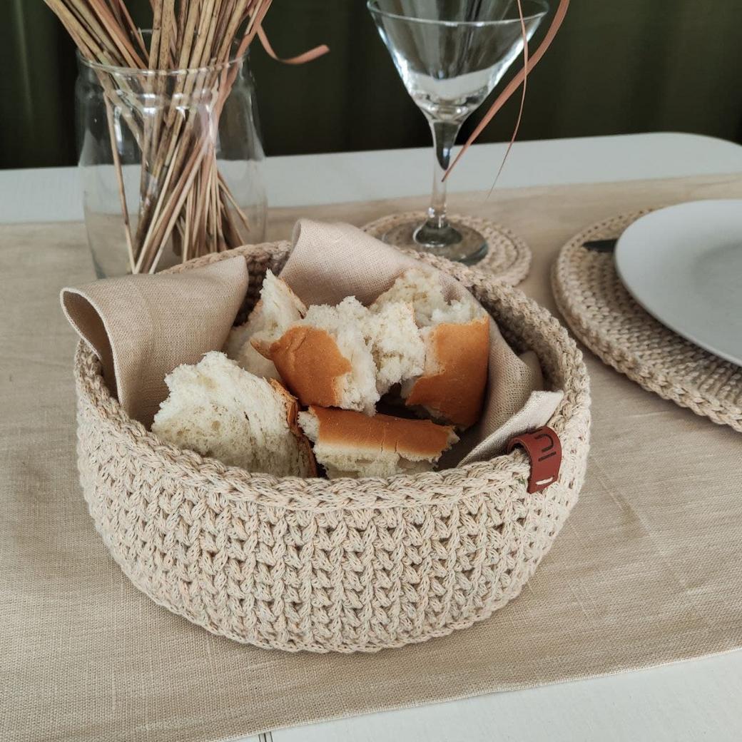 Хлопковая вязаная корзина для хлеба ручной работы